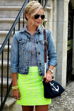 I have this skirt in shorts and never would have thought to pair it with the plaid and jean ....