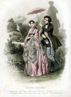 1847. Les Modes Parisiennes, pretty pink gown and parasol.