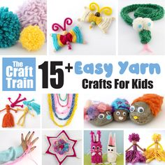 Here are over 15 creative and easy yarn crafts for kids. Includes easy weaving ideas, DIY pom poms, handmade yarn dolls, holiday craft ideas and more! Easy Yarn Crafts, Yarn Crafts For Kids, Spring Crafts For Kids, Craft Stick Crafts, Fun Crafts, Craft Ideas, Weaving For Kids, Yarn Dolls, Flower Embroidery Designs