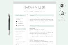 Resume CV Template & Cover Letter by PAPPERMINT RESUME STUDIO on @creativemarket Cover Letter For Resume, Cover Letter Template, Letter Templates, Template Cv, Resume Templates, Cv Design, Resume Design, Branding Design, Graphic Design