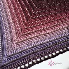 This shawl can be made of any type of yarn and suitable hook. The pattern instructs how to exclude or add rows to make it the size you like.