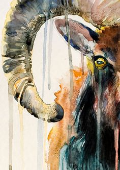 Original Aquarell Malerei Ram Ziege Tier Illustration von SlaviART