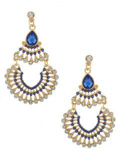 Apollo Fan Dangle Earrings Blue