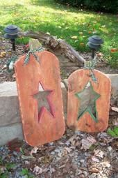 Barn wood pumpkins with star cutout by Velvet's Wood Crafts, via Flickr