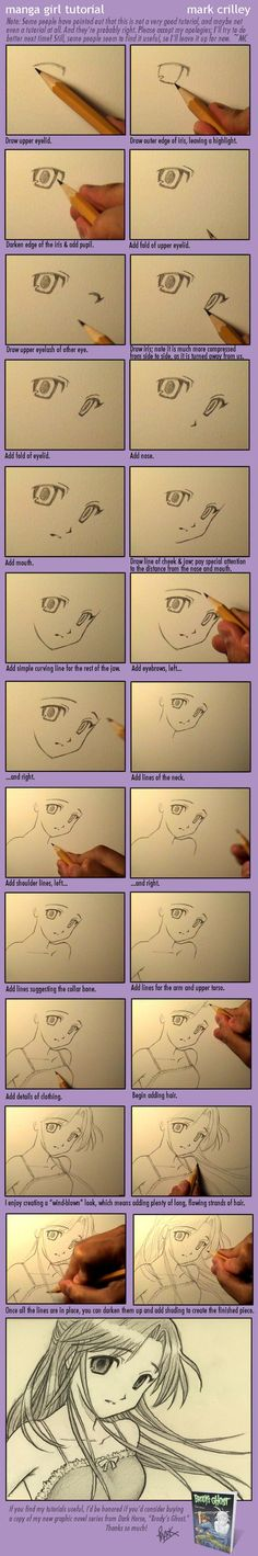 Manga Girl Tutorial by markcrilley.devia… on Not really into Mang… Manga Girl Tutorial by markcrilley.devia… on Not really into Manga, but this is pretty cool! Drawing Skills, Drawing Lessons, Drawing Techniques, Drawing Tips, Drawing Reference, Drawing Sketches, Sketching, Drawing Ideas, Drawing Style