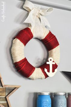DIY Burlap Wreath: Summer Nautical - Crafts Unleashed