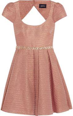 Notte by #Marchesa Embellished metallic jacquard mini #dress
