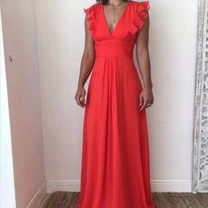 Jessica Simpson Ruffled Orange Dress (Size 4)