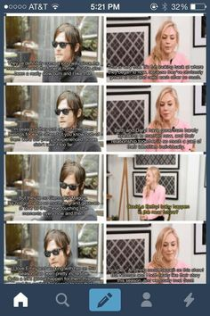 Norman Reedus and Emily Kinney--- I still find it awkward that he's 45 and she's playing a roughly.. 20/21 year old girl. I know it's the apocalypse and you take what you can get. But still!