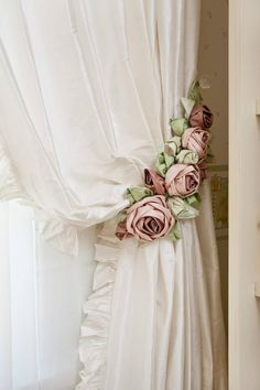 Shabby Chic Rose Curtain Tie Backs
