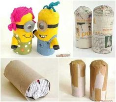 Make minions from a toilet paper roll! Kids Crafts, Crafts To Do, Craft Projects, Arts And Crafts, Toilet Roll Craft, Toilet Paper Roll Crafts, Paper Crafts, Minion Birthday, Minion Party