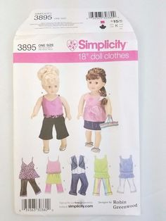 "Simplicity 3895 Sewing Pattern 18"" Summer Casual Doll Clothes Uncut 2007 #Simplicity #SewingPattern"