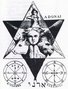 Tetramorph within a Hexagram.  http://en.wikipedia.org/wiki/Tetramorph…