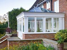 Our bespoke Orangery designs are designed to complement your home. Modern Conservatory, Orangery Extension, Roof Lantern, Sunroom, Lanterns, Windows, Doors, Building, Classic