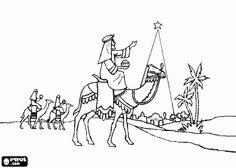 Colorear La estrella de Navidad guiando a los Reyes Magos hacia Belén