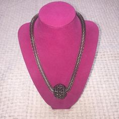 Grey Rhinestone Necklace Beautiful rhinestoned grey necklace never worn Jewelry Necklaces
