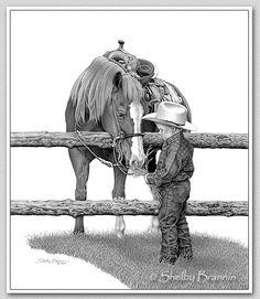 Western cowboy pencil drawing