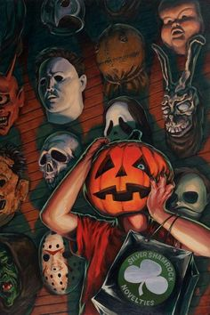 Season Of The Witch painting print by Stephen Andrade Crazy 4 Cult Halloween 3 horror movie masks silver shamrock Masque Halloween, Soirée Halloween, Halloween Movies, Scary Movies, Vintage Halloween, Terror Movies, Movies Free, Arte Horror, Desenhos Halloween