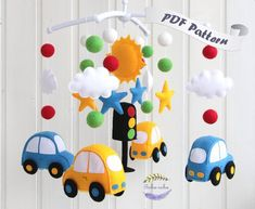 """Baby mobile pattern """"Cars Finished size: Car-3,35"""" (8.5 cm), sun- 4,33"""" (11 cm), star- 2,36"""" (6 cm), cloud- 2,17"""" (5.5 cm) You can download templates in several minutes. In case you dont know how to download the file please click on this link to find out:"""