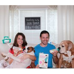 Pregnancy announcement. Pregnancy announcement with dogs. Pet pregnancy announcement.