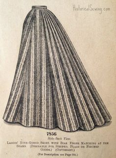 1895 Nine-gored skirt w-bias edges - . To make the skirt for a lady of medium size, requires ten yards and five-eighths of goods twenty-two inches wide, or ten yards and a half thirty inches wide, or eight yards and three-fourths thirty-six inches wide, or five yards and seven-eighths forty-four inches wide, or five yards and a half fifty inches wide.