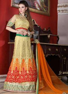 Staring Cream And Orange Resham Embroidery Work A Line Lehenga Choli