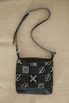 Black Leather Mud Cloth Shoulder Bag