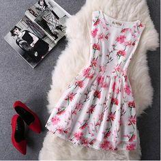 Organza Fashion Print Sleeveless Dress-5