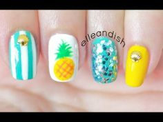 Summer Pineapple Nails - YouTube // elleandish