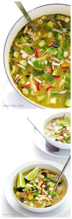 Easy Chicken Posole Verde -- delicious Mexican chicken stew, ready to go in 20 minutes! | gimmesomeoven.com