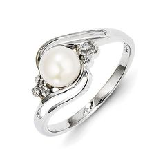 $30 Genuine .925 Sterling Silver Rhodium 6mm Fw Cult Button Pearl & Diamond Ring Size-6 (1.8) Grams. 100% Satisfaction Guaranteed.