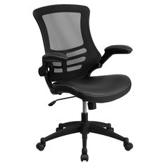 Flash Furniture Mid-Back Mesh Swivel Task Chair with Leather Padded Seat and Flip-Up Arms - BL-X-5M-LEA-GG