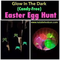 Last night we did a really fun Easter egg hunt with our neighbors that was cheap and only took a few minutes to throw together. We bought a pack of 40 glow bracelets for $5 in the party supply section at Walmart and filled the big plastic eggs with them (make sure you get the bigger eggs - the bracelets won't fit in the small eggs). It was a great no-candy alternative and the kids loved it. The photo on the left were these glow in the dark bunny ears headbands we got the kids too  Tag a frie...
