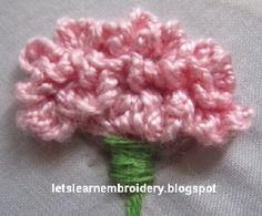 Let's learn embroidery: Carnation- side-view༺✿Teresa Restegui http://www.pinterest.com/teretegui/✿༻