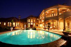 Lake Austin Mediterranean Pool Evening by Zbranek & Holt Custom Homes Austin and Lake Austin Luxury Custom Home Builder