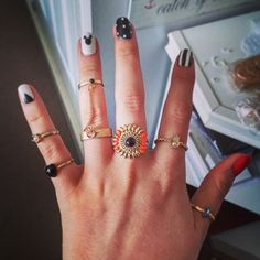 """""""Can't have a finger missing out  #rings #ringfashion #aztecrings #topshop #nailart  #nailfashion #blackandwhite #chain #chainring #disney #disneynails…"""""""