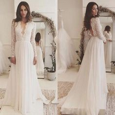 Discount Chic 2018 Lace Long Sleeve Backless Bohemian Beach Country Wedding Dresses Cheap Deep V Neck Chiffon Long Boho Bridal Gowns En1106 Best Wedding Dresses Bridal Wear From Dress_1st, $125.63| Dhgate.Com
