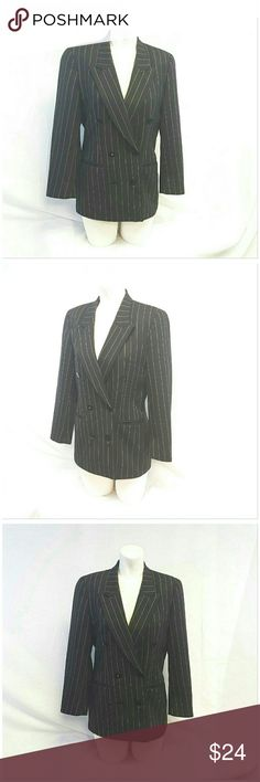 """LIZ CLAIBORNE Petite Black w Gold Stripes Blazer 6 LIZ CLAIBORNE Petite, Black w Gold Stripes Double Breasted Blazer, size 6 Petite See Measurements, 6 front buttons 2 are decorative only, 3 decorative buttons on sleeve hem, 2 slit pockets, fully lined, 100% wool, lining 100% acetate, approximate measurements: 28"""" length shoulder to hem, 18"""" bust laying flat, 22"""" sleeves, 14"""" width shoulder seam to shoulder seam. ADD TO A BUNDLE!  20% BUNDLE DISCOUNT Liz Claiborne Jackets & Coats Blazers"""