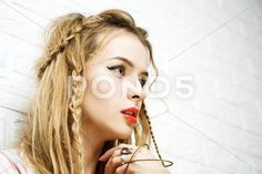 Stock photo Boho Girl at White Brick Wall Background. Trendy Casual Fashion Outfit. Vintage Toned Photo with Copy Space..  8.8 MB. 5760 x 3840. From $10. Royalty free. Download now >>>