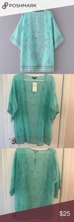 Swimsuit Bikini Cover up Kimono Cardigan Cover Swimsuit Bikini Cover up Kimono Cardigan Cover  Super cute  New in package  Can be worn as a swimsuit cover up or an everyday cover  One size  Length 31inches Approx  Color: Mint Green  Sorry no trades Happy Poshing  **Please note due to lighting on cameras there may be a slight color difference**Other brands in my closet Brandy Melville, Victoria's Secret, Victoria's Secret Pink, Juicy Couture, True Religion, Metal Mulisha, Mek Swim Coverups