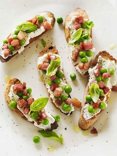 Bruschetta with Peas, Pancetta and Ricotta.