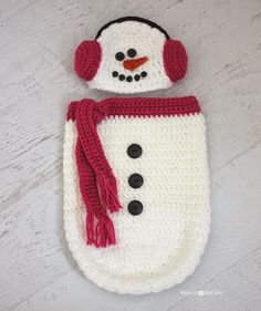 Repeat Crafter Me FREE Crochet Snowman Hat with Ear Muffs and newborn Cocoon!