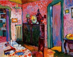 off Hand made oil painting reproduction of Interior My Dining Room, one of the most famous paintings by Wassily Kandinsky. You don't have to be a specialist in Art History to quickly notice that this is an oil from the early stages of Kandinsky. Henri Matisse, Grant Wood, Roy Lichtenstein, Wassily Kandinsky Paintings, Kandinsky Art, Ouvrages D'art, Post Impressionism, Oil Painting Reproductions, Oeuvre D'art