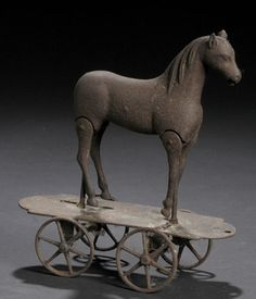 Early Cast Iron Horse Pull Toy