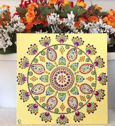 Mandala Dot Painting, Canvas Panel, Hand Painted Mandala, 10 Inches Square, Dot Art, Wall Art, Original Design, Yellow Painting