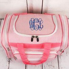 A personal favorite from my Etsy shop https://www.etsy.com/listing/249125705/seersucker-monogrammed-duffle-bag