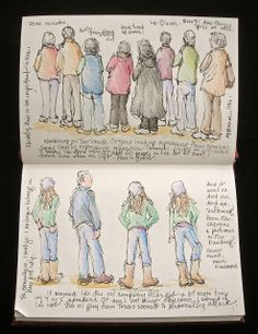 Sometimes sketching in a journal has functions other than drawing for pleasure. Last night, at a town meeting about a pending proposal f. Travel Sketchbook, Watercolor Sketchbook, Sketchbook Drawings, Artist Sketchbook, Pen And Watercolor, Drawing Sketches, Figure Sketching, Urban Sketching, Figure Drawing