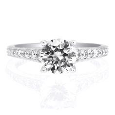 18K White Gold Modern Graduated Diamond Engagement Ring by Ritani