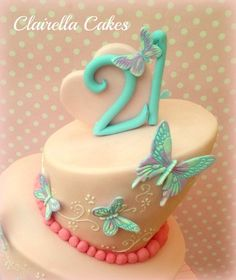 21st Topsy Turvy Birthday Cake      Birthday Cakes   Pre    n    s         Topsy Turvy 21st Butterfly Cake   by ClairellaCakes   CakesDecor com   cake  decorating website