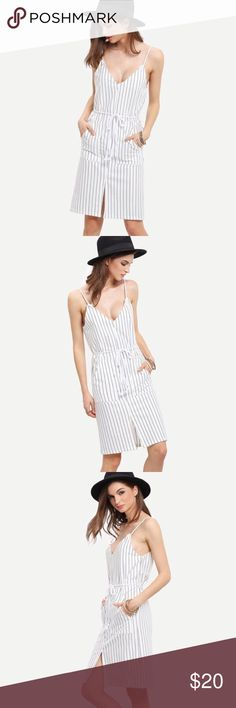💝HP 9-2-16💝White Striped Split Dress 💝 💝Best in Dresses & Skirts HP💝White Spaghetti Strap Vertical Striped Split Dress With Drawstring. Comes with pockets. Perfect for Spring/ Summer outings 💞 Shein Dresses Midi